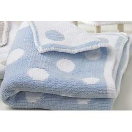 Couvre-lit bébé réversible en bleu et blanc